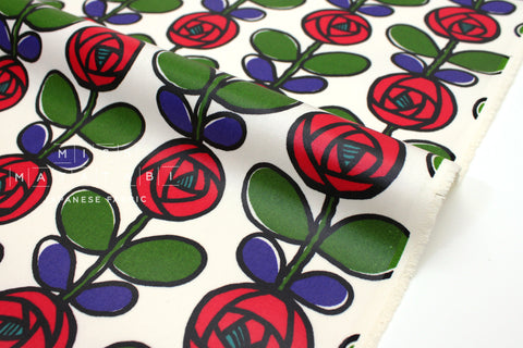 Japanese Fabric Roses canvas - cream, red, green, blue - laminated - 50cm