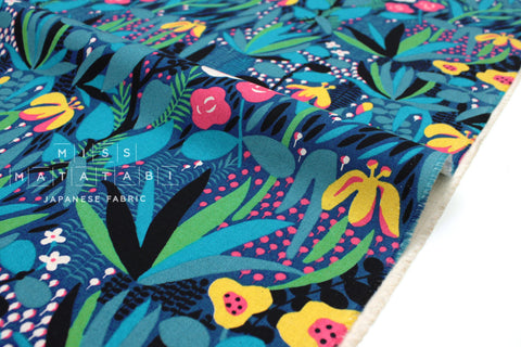Japanese Fabric Wild and Beautiful - blue - 50cm