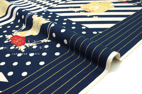 Japanese Fabric Power Animals Panel - navy blue - 60cm