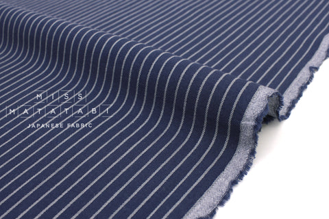 Japanese Fabric Yarn Dyed Stripes - indigo blue, grey - 50cm