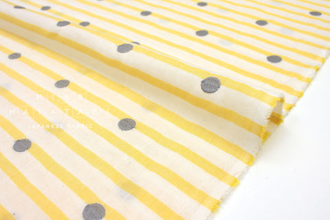 Japanese Fabric Kokka Yarn Dyed Embroidered Double Gauze - polka dots and stripes - yellow - 50cm