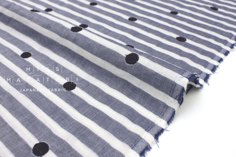 Japanese Fabric Kokka Yarn Dyed Embroidered Double Gauze - polka dots and stripes - navy blue - 50cm