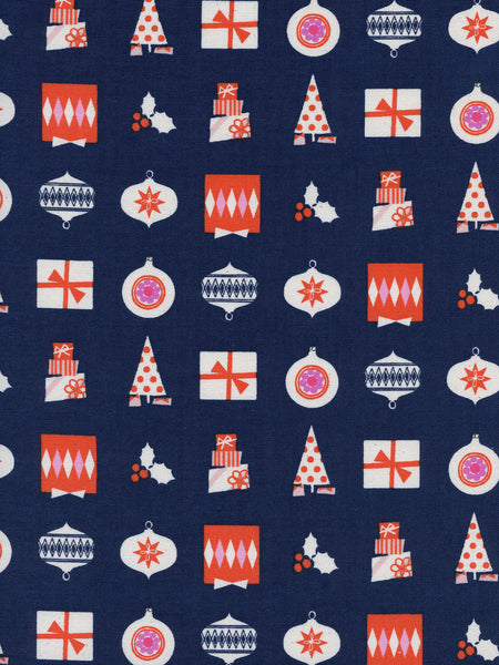 Cotton + Steel Noel - wrapped up navy - 50cm