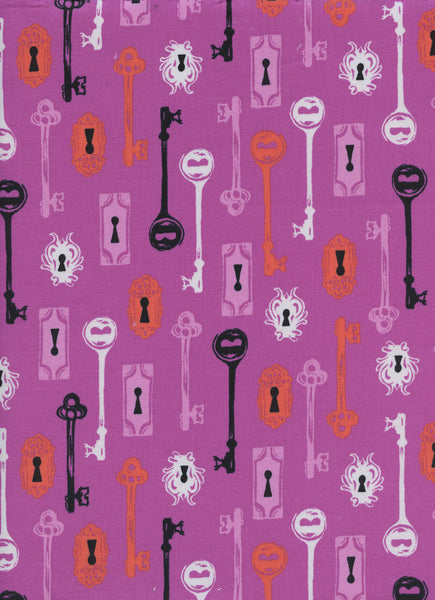 Cotton + Steel Boo! - skeleton keys grape - 50cm