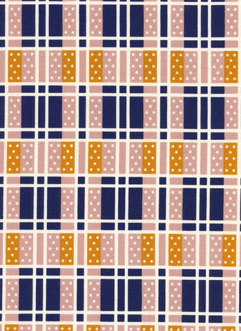 Cotton + Steel Lucky Strikes - domino plaid navy - 50cm