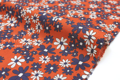 Japanese Fabric Vintage Floral cotton lawn - burnt orange, blue - 50cm