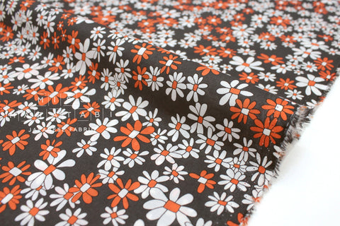 Japanese Fabric Vintage Floral cotton lawn - charcoal, orange - 50cm