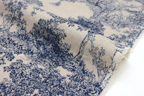 Japanese Fabric 100% Linen Magic Forest - blue, natural -  50cm