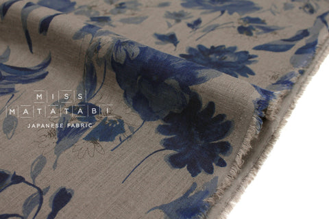 Japanese Fabric 100% Linen Petals - blue, khaki grey -  50cm