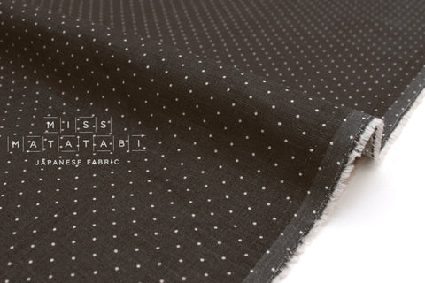 Japanese Fabric 100% Linen Dots - charcoal -  50cm