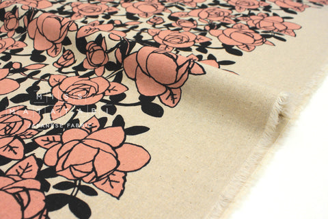 Japanese Fabric Roses - pink, black - 50cm