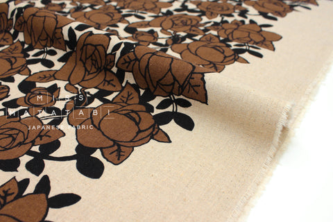 Japanese Fabric Roses - earth, black - 50cm