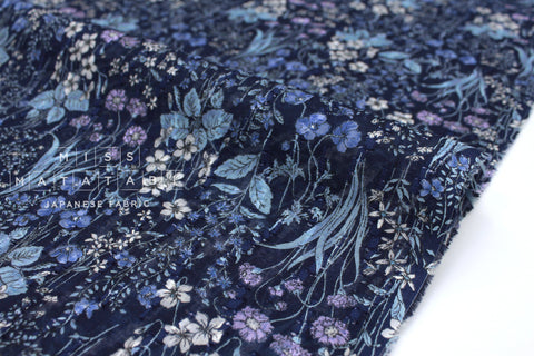 Japanese Fabric Cut Jacqaurd Voile - blue meadow - 50cm