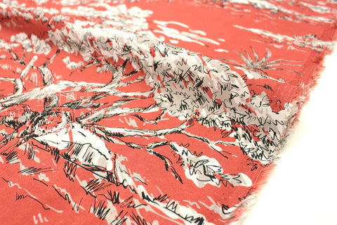 Japanese Fabric Safari rayon lawn - bright burnt orange - 50cm