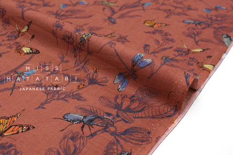 Japanese Fabric Summer Insects cotton lawn - rust ochre - 50cm