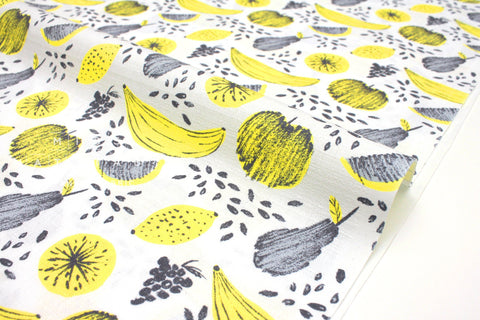 Japanese Fabric Summer Fruit - yellow, grey - 50cm