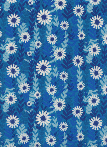 Cotton + Steel Freshly Picked - daisies - blue - 50cm