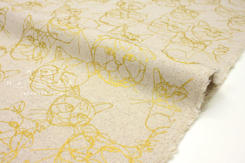 Japanese Fabric Kokka +HAyU Cat - natural, metallic gold - 50cm