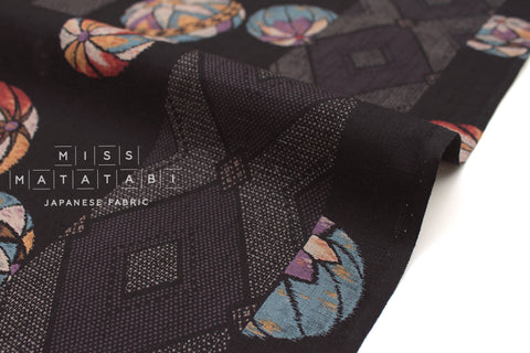 Japanese Fabric Temari dobby - black, jewels - 50cm