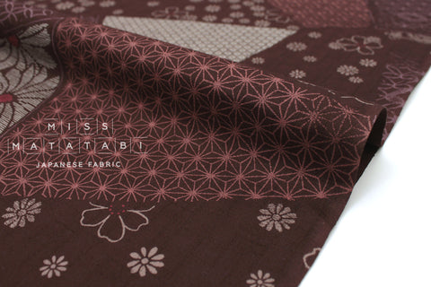 Japanese Fabric Kiku Tsunagi Dobby - chocolate brown, mauve - 50cm