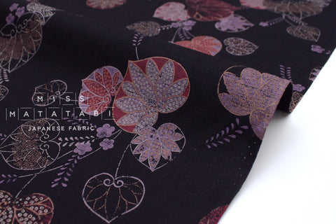 Japanese Fabric Aoi Hollyhock Dobby - black, mauve, rust - 50cm
