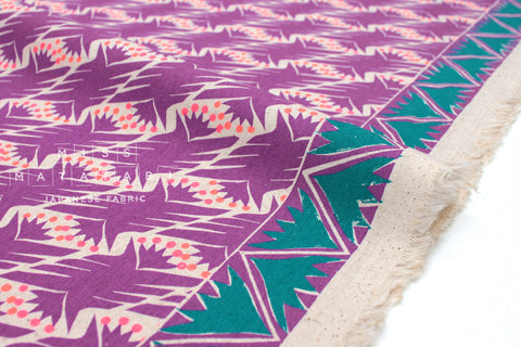 Japanese Fabric Kokka Fabric Caravan by Yurtao - bird - purple, green - 50cm
