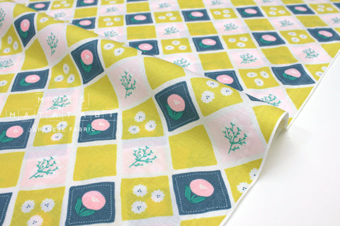 Japanese Fabric Nina Lattice - chartreuse, pink - 50cm