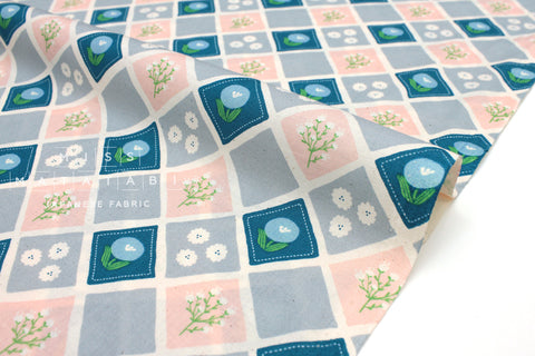 Japanese Fabric Nina Lattice - blue, pink, grey - 50cm