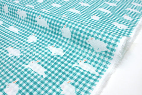 Japanese Fabric Kotorinuno Usa Gingham - bright blue - 50cm