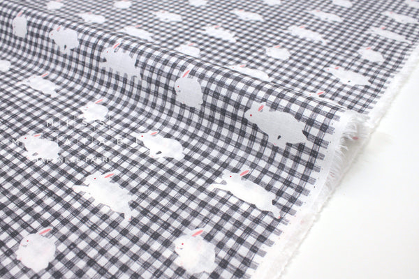 Japanese Fabric Kotorinuno Usa Gingham - grey - 50cm