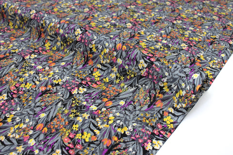 Japanese Fabric Dense Floral cotton lawn - black, berry, grey - 50cm