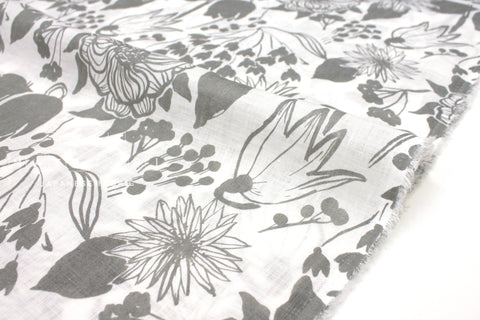 Japanese Fabric 100% Linen Spring - grey -  50cm