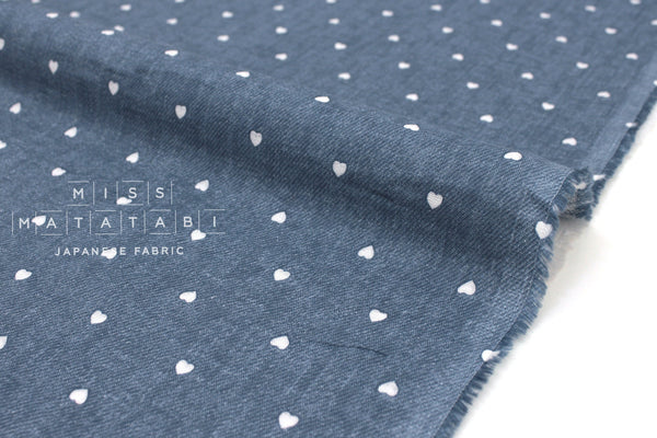 Japanese Fabric Denim-style Double Gauze Hearts - 50cm