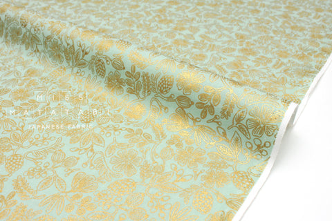 Cotton + Steel Primavera - moxie floral mint metallic gold - 50cm