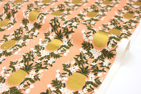 Cotton + Steel Primavera - pineapple stripe peach metallic gold - 50cm