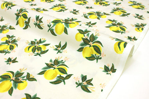 Cotton + Steel Primavera - citrus blossom lemon metallic gold - 50cm