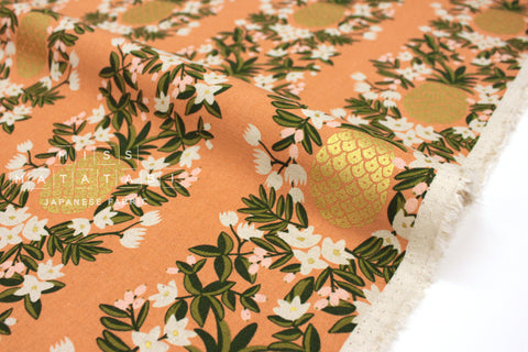 Cotton + Steel Primavera canvas - pineapple stripe peach metallic gold - 50cm