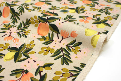 Cotton + Steel Primavera canvas - citrus floral sand - 50cm