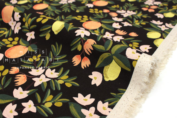 Cotton + Steel Primavera canvas - citrus floral black - fat quarter