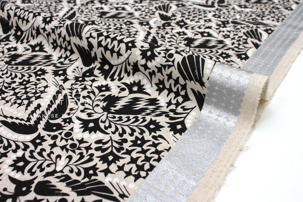 Japanese Fabric Kokka Fabric Caravan by Yurtao - Shangri La - black, metallic silver - 50cm