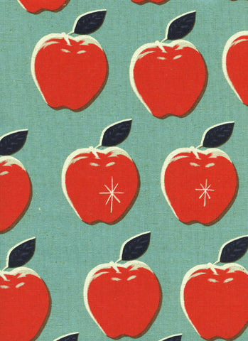 WILDLIFE Cotton + Steel Picnic Canvas - apples red, blue - 50cm