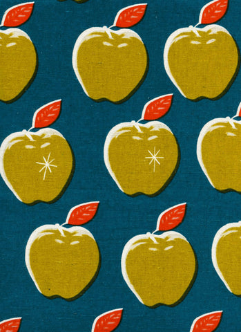 WILDLIFE Cotton + Steel Picnic Canvas - apples teal, mustard - 50cm