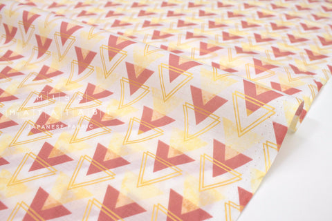 Japanese Fabric Kokka Metallic Arrows lawn - peach clay, yellow, gold - 50cm