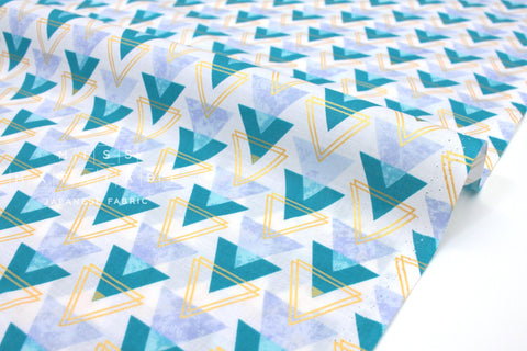 Japanese Fabric Kokka Metallic Arrows lawn - teal, blue, gold - 50cm
