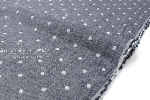 Japanese Fabric Kokka Double gauze - reversible dots navy blue -  50cm