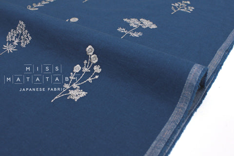Japanese Fabric Kokka Embroidered Floral - blue - 50cm