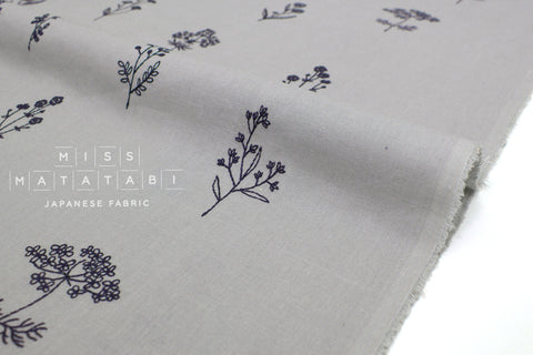 Japanese Fabric Kokka Embroidered Floral - grey - 50cm