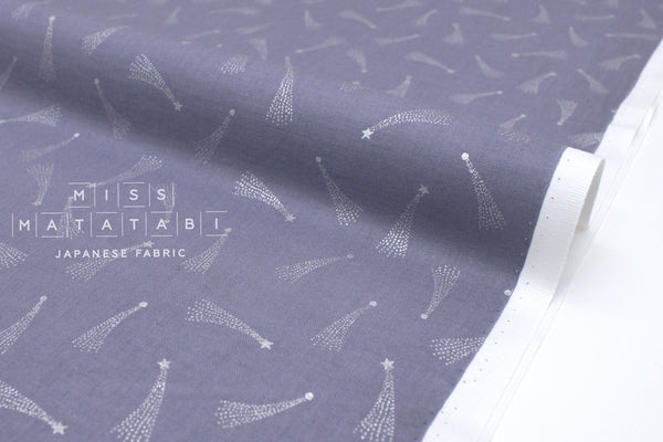 Japanese Fabric Cotton + Steel Mystical - Shooting Stars - dusty lilac metallic silver - fat quarter