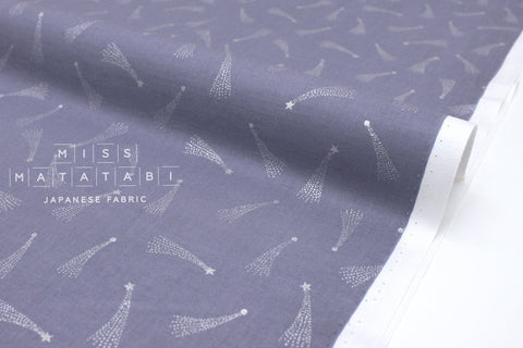 Japanese Fabric Cotton + Steel Mystical - Shooting Stars - dusty lilac metallic silver - 50cm