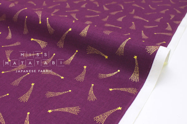 Japanese Fabric Cotton + Steel Mystical - Shooting Stars - plum metallic gold - 50cm